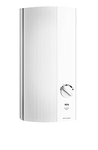 AEG Haustechnik AEG elektronischer Durchlauferhitzer DDLE Basis 18/21/24 kW, umschaltbar, druckfest, stufenlose Temperaturwahl mit 4 Anwendungssymbolen, solargeeignet, 222390, 400 V, Weiß