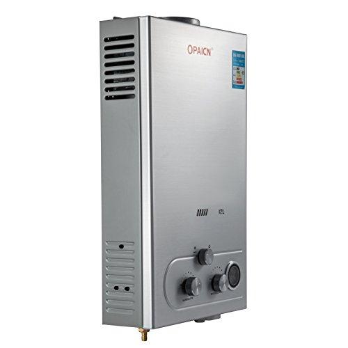 Anhon Tragbare Tankless Warmwasserbereiter 8-18L LPG Gas Propan Durchlauferhitzer Tankless Instant Boiler mit Duschkopf und LCD Display (12L)